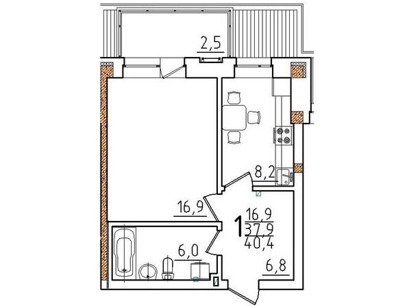 Планировки Жилой комплекс ОНЕГИН Ж/К, б/с 1, 2 - Планировка однокомнатной квартиры 40,4 кв.м