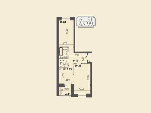 Планировки новостроек КЛУБНЫЙ ДОМ НА ЗВЕЗДИНСКОЙ - Планировка двухкомнатной квартиры 65,99 кв.м