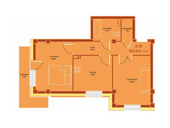 Планировки Жилой комплекс НОВЫЙ ВЕК ж/к, 3 оч, б/с 9 - Планировка двухкомнатной квартиры 60,83 кв.м