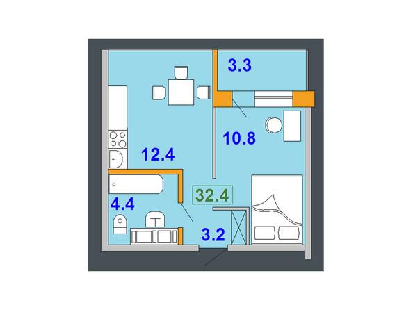 Планировки Жилой комплекс НА СОВЕТСКОЙ ж/к, 1 оч - Планировка однокомнатной квартиры 32,4 кв.м