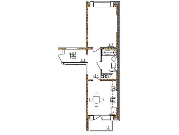 Планировки Жилой комплекс ОНЕГИН Ж/К, б/с 1, 2 - Планировка однокомнатной квартиры 47,6 кв.м