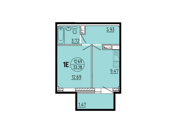 Планировки новостроек ЭВОЛЮЦИЯ ж/к, 1 оч, б/с 1-11 - Планировка однокомнатной квартиры 33,28 кв.м