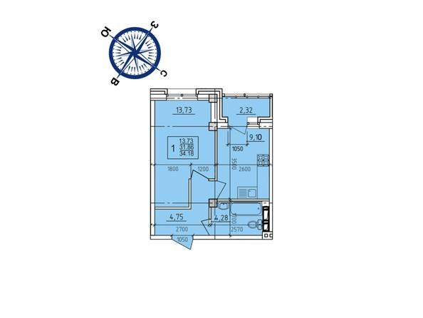 Планировки новостроек ИРКУТСКИЙ ДВОРИК-2 ж/к,  б/с 1-3 - Планировка однокомнатной квартиры 34,18 кв.м