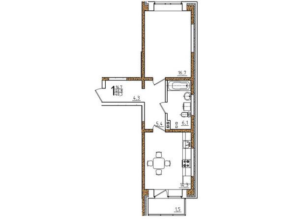 Планировки Жилой комплекс ОНЕГИН Ж/К, б/с 1, 2 - Планировка однокомнатной квартиры 48,3 кв.м