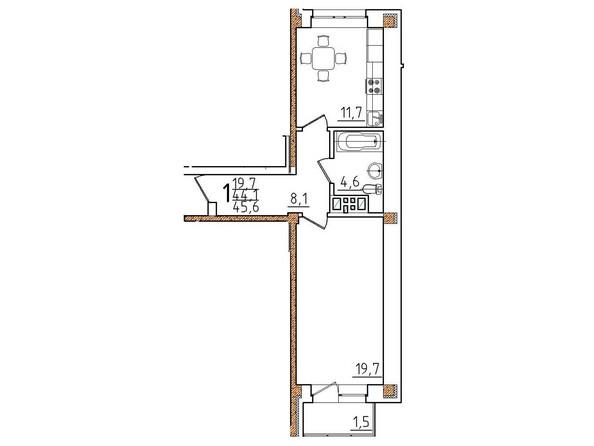 Планировки Жилой комплекс ОНЕГИН Ж/К, б/с 1, 2 - Планировка однокомнатной квартиры 45,6 кв.м