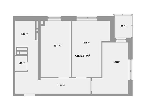 Планировки новостроек УСПЕНСКИЙ-2 ж/к, 2 оч - Планировка двухкомнатной квартиры 58,54 кв.м