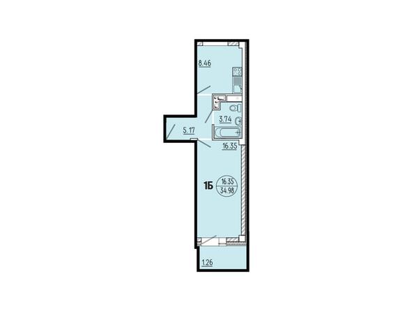 Планировки новостроек ЭВОЛЮЦИЯ ж/к, 1 оч, б/с 1-11 - Планировка однокомнатной квартиры 34,98 кв.м