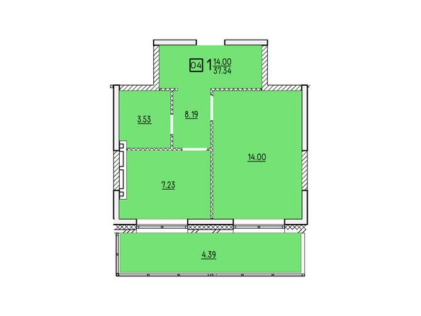 Планировки новостроек УСПЕНСКИЙ-2 ж/к, 2 оч - Планировка однокомнатной квартиры 37,34 кв.м
