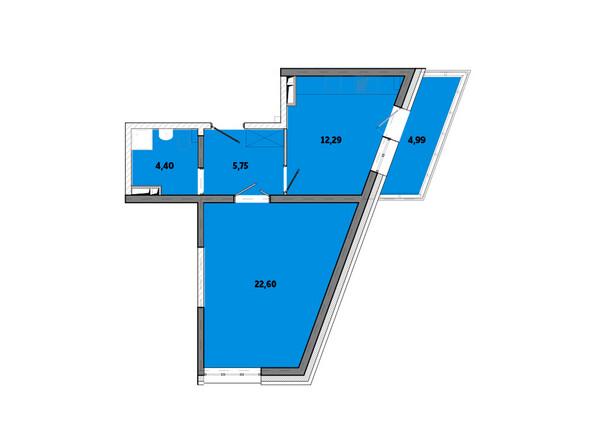 Планировки Жилой комплекс ПРИМОРЬЕ ж/к, б/с 3 - Планировка однокомнатной квартиры 50,03 кв.м