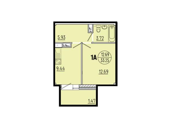 Планировки новостроек ЭВОЛЮЦИЯ ж/к, 1 оч, б/с 1-11 - Планировка однокомнатной квартиры 33,25 кв.м