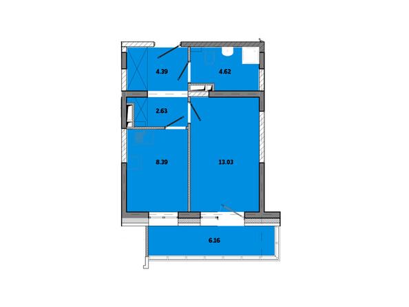 Планировки новостроек ПРИМОРЬЕ ж/к, б/с 2 - Планировка однокомнатной квартиры 39,35 кв.м