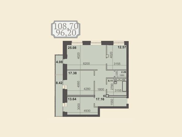 Планировки новостроек КЛУБНЫЙ ДОМ НА ЗВЕЗДИНСКОЙ - Планировка трехкомнатной квартиры 108,7 кв.м