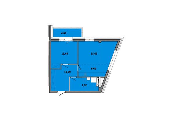 Планировки Жилой комплекс ПРИМОРЬЕ ж/к, б/с 3 - Планировка двухкомнатной квартиры 56,75 кв.м