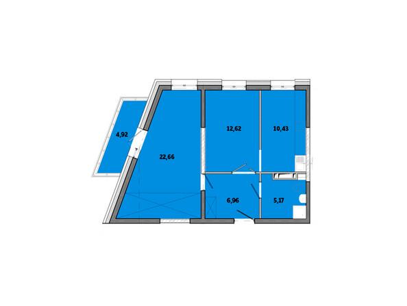 Планировки Жилой комплекс ПРИМОРЬЕ ж/к, б/с 3 - Планировка двухкомнатной квартиры 62,76 кв.м