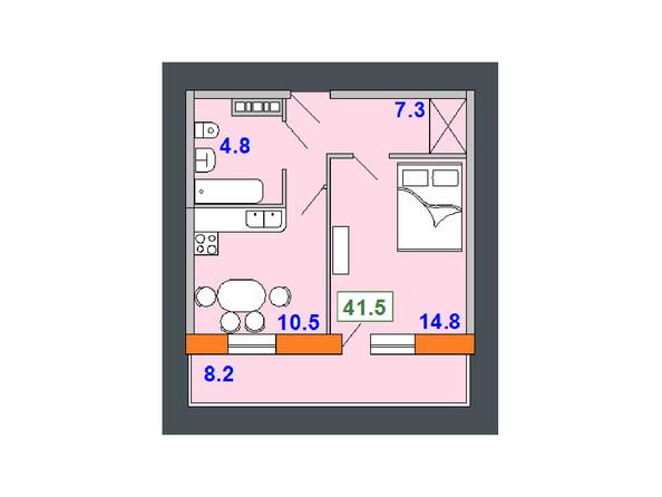 Планировки Жилой комплекс НА СОВЕТСКОЙ ж/к, 2 оч - Планировка однокомнатной квартиры 41,5 кв.м