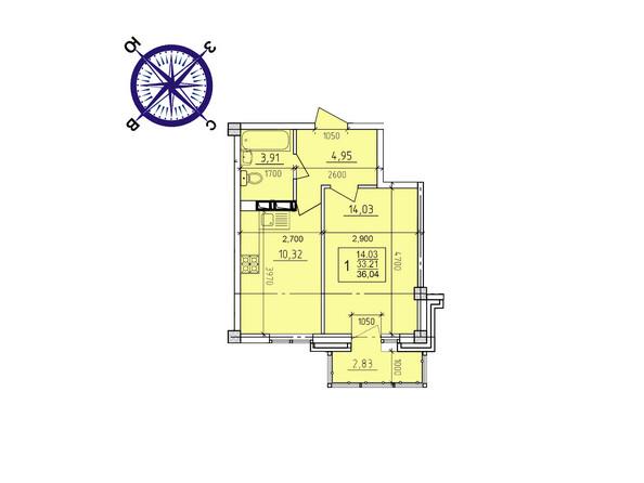 Планировки новостроек ИРКУТСКИЙ ДВОРИК-2 ж/к,  б/с 1-3 - Планировка однокомнатной квартиры 36,04 кв.м