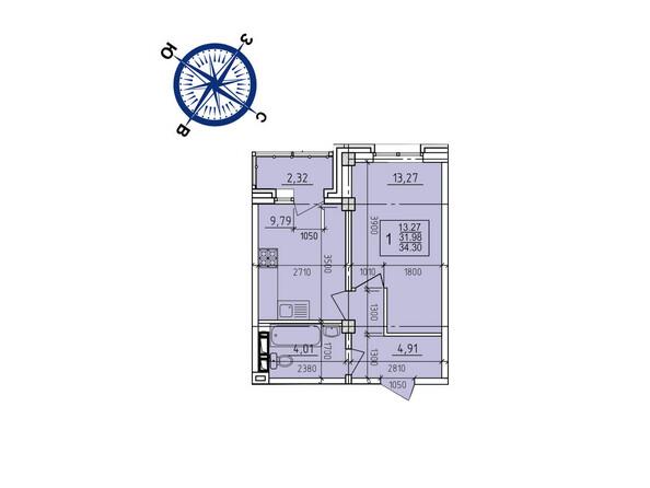 Планировки новостроек ИРКУТСКИЙ ДВОРИК-2 ж/к,  б/с 1-3 - Планировка однокомнатной квартиры 34,30 кв.м