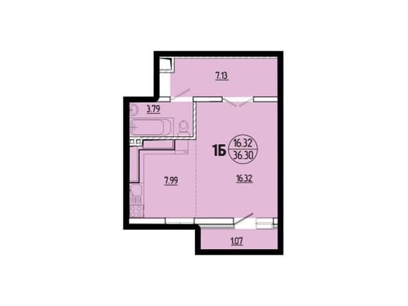 Планировки новостроек ЭВОЛЮЦИЯ ж/к, 1 оч, б/с 2-8 - Планировка однокомнатной квартиры 36,30 кв.м