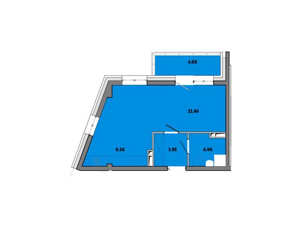 Планировки новостроек ПРИМОРЬЕ ж/к, б/с 2 - Планировка однокомнатной квартиры 40,74 кв.м
