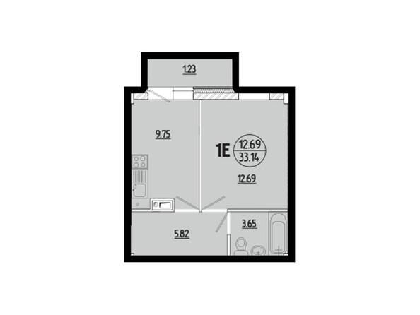 Планировки новостроек ЭВОЛЮЦИЯ ж/к, 1 оч, б/с 1-11 - Планировка однокомнатной квартиры 33,14 кв.м