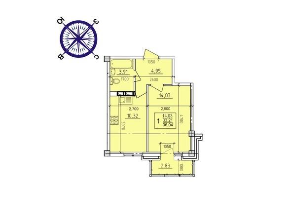 Планировки новостроек ИРКУТСКИЙ ДВОРИК-2 ж/к,  б/с 4-9 - Планировка однокомнатной квартиры 36,04 кв.м