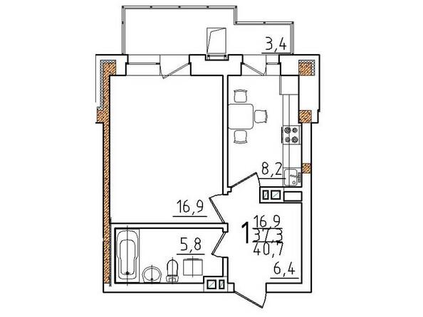 Планировки Жилой комплекс ОНЕГИН Ж/К, б/с 1, 2 - Планировка однокомнатной квартиры 40,7 кв.м