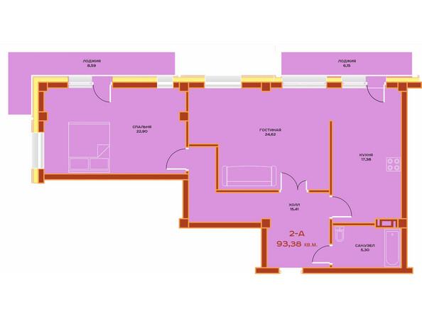Планировки Жилой комплекс НОВЫЙ ВЕК ж/к, 3 оч, б/с 9 - Планировка двухкомнатной квартиры 93,38 кв.м