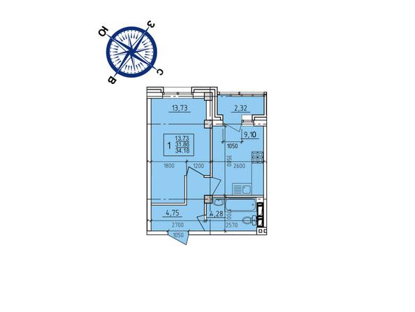 Планировки новостроек ИРКУТСКИЙ ДВОРИК-2 ж/к,  б/с 4-9 - Планировка однокомнатной квартиры 34,18 кв.м