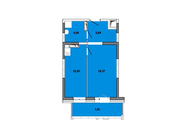 Планировки Жилой комплекс ПРИМОРЬЕ ж/к, б/с 3 - Планировка однокомнатной квартиры 46,02 кв.м