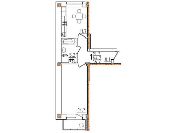 Планировки Жилой комплекс ОНЕГИН Ж/К, б/с 1, 2 - Планировка однокомнатной квартиры 46,2 кв.м