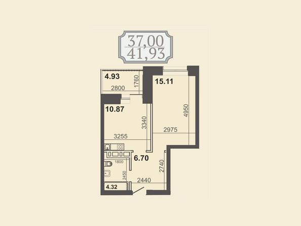 Планировки новостроек КЛУБНЫЙ ДОМ НА ЗВЕЗДИНСКОЙ - Планировка однокомнатной квартиры 41,93 кв.м