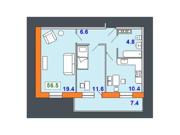 Планировки Жилой комплекс НА СОВЕТСКОЙ ж/к, 2 оч - Планировка двухкомнатной квартиры 56,5 кв.м