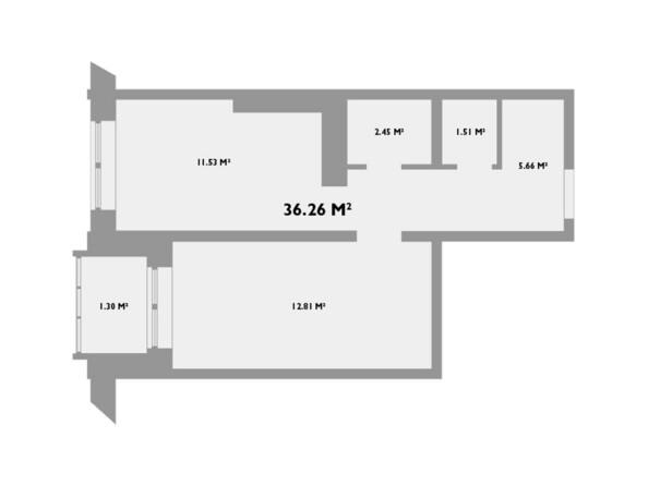 Планировки новостроек УСПЕНСКИЙ-2 ж/к, 2 оч - Планировка однокомнатной квартиры 36,26 кв.м