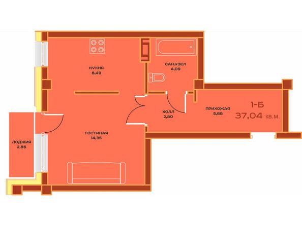 Планировки Жилой комплекс НОВЫЙ ВЕК ж/к, 3 оч, б/с 9 - Планировка однокомнатной квартиры 37,04 кв.м