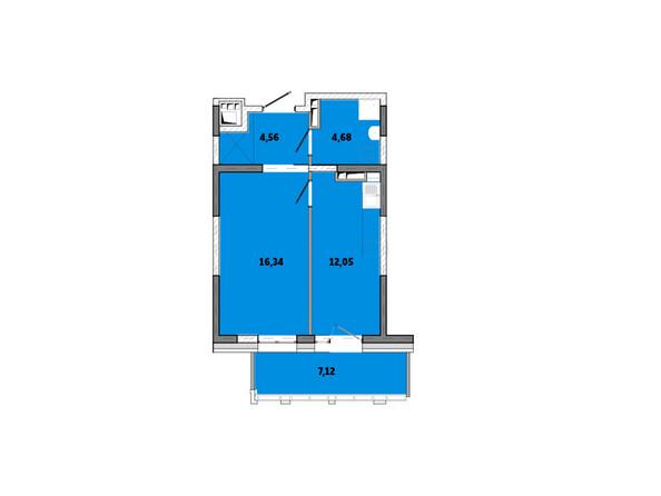 Планировки Жилой комплекс ПРИМОРЬЕ ж/к, б/с 3 - Планировка однокомнатной квартиры 44,75 кв.м