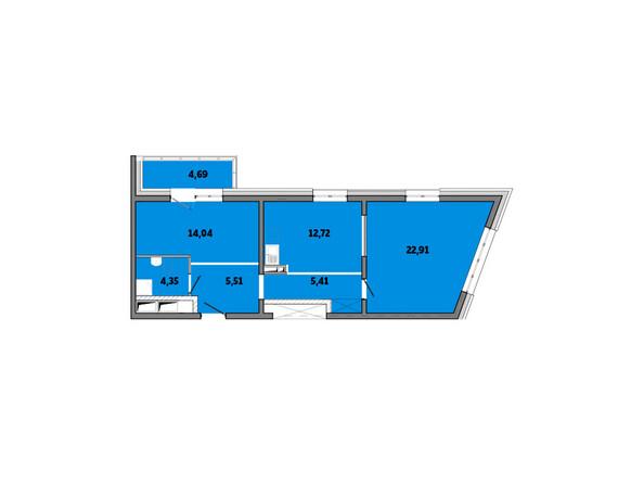 Планировки новостроек ПРИМОРЬЕ ж/к, б/с 2 - Планировка двухкомнатной квартиры 69,63 кв.м