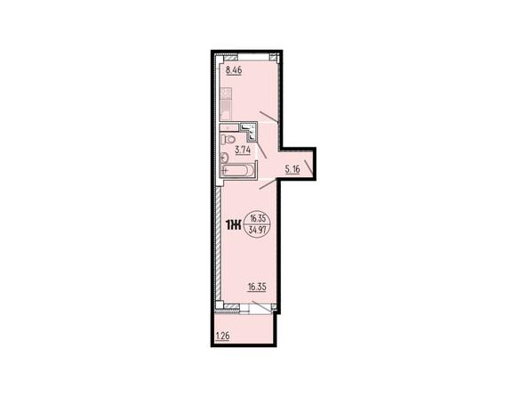 Планировки новостроек ЭВОЛЮЦИЯ ж/к, 1 оч, б/с 1-11 - Планировка однокомнатной квартиры 34,97 кв.м