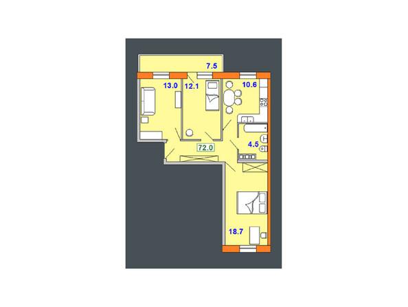 Планировки Жилой комплекс НА СОВЕТСКОЙ ж/к, 2 оч - Планировка трехкомнатной квартиры 72 кв.м
