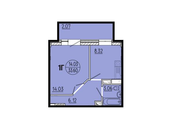 Планировки новостроек ЭВОЛЮЦИЯ ж/к, 1 оч, б/с 1-11 - Планировка однокомнатной квартиры 33,60 кв.м