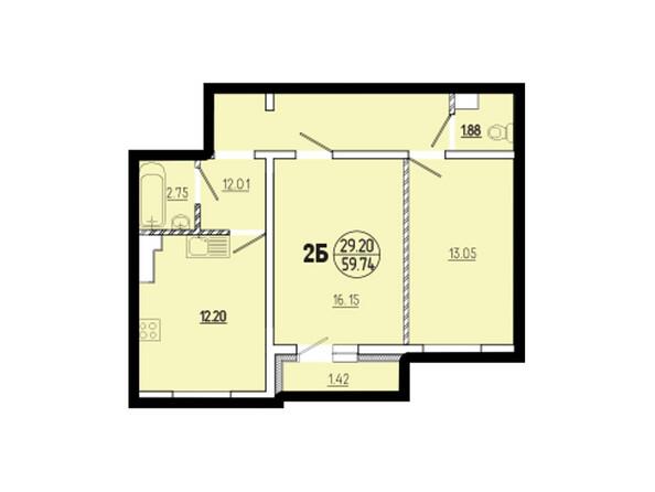 Планировки Жилой комплекс ЭВОЛЮЦИЯ ж/к, 1 оч, б/с 1-9, 1-10 - Планировка двухкомнатной квартиры 59,74 кв.м