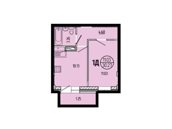 Планировки новостроек ЭВОЛЮЦИЯ ж/к, 1 оч, б/с 1-11 - Планировка однокомнатной квартиры 30,27 кв.м
