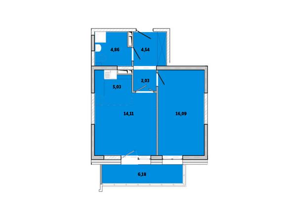 Планировки Жилой комплекс ПРИМОРЬЕ ж/к, б/с 3 - Планировка двухкомнатной квартиры 52,84 кв.м