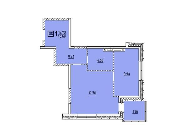 Планировки новостроек УСПЕНСКИЙ-2 ж/к, 2 оч - Планировка однокомнатной квартиры 43,69 кв.м