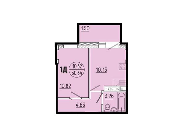 Планировки новостроек ЭВОЛЮЦИЯ ж/к, 1 оч, б/с 1-11 - Планировка однокомнатной квартиры 30,34 кв.м