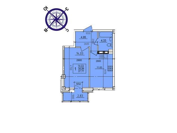 Планировки новостроек ИРКУТСКИЙ ДВОРИК-2 ж/к,  б/с 4-9 - Планировка однокомнатной квартиры 37,77 кв.м