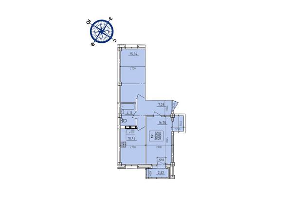 Планировки новостроек ИРКУТСКИЙ ДВОРИК-2 ж/к,  б/с 1-3 - Планировка двухкомнатной квартиры 56,24 кв.м