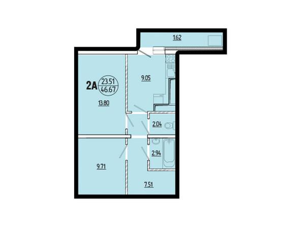 Планировки новостроек ЭВОЛЮЦИЯ ж/к, 1 оч, б/с 2-8 - Планировка двухкомнатной квартиры 46,67 кв.м