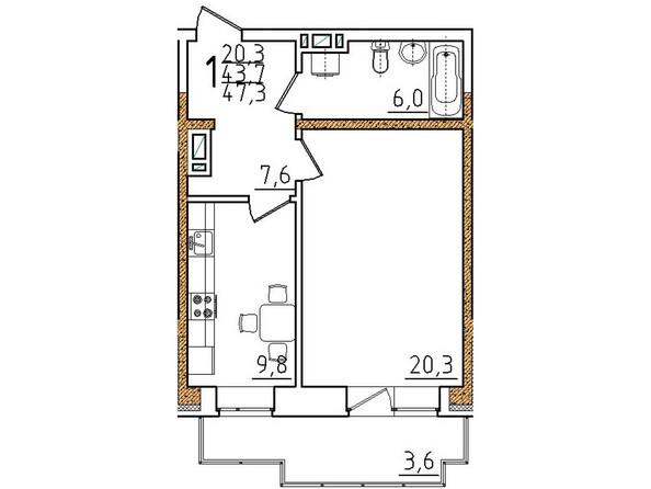 Планировки Жилой комплекс ОНЕГИН Ж/К, б/с 3, 5, 6 - Планировка однокомнатной квартиры 47,3 кв.м