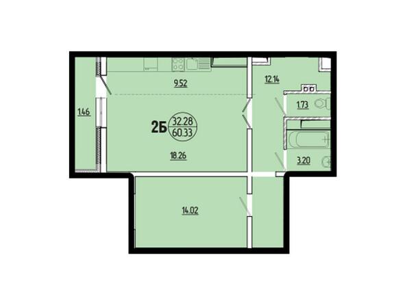 Планировки новостроек ЭВОЛЮЦИЯ ж/к, 1 оч, б/с 2-8 - Планировка двухкомнатной квартиры 60,33 кв.м