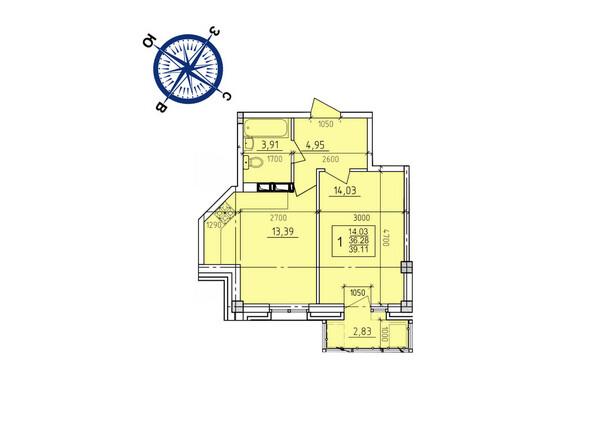 Планировки новостроек ИРКУТСКИЙ ДВОРИК-2 ж/к,  б/с 1-3 - Планировка однокомнатной квартиры 39,11 кв.м